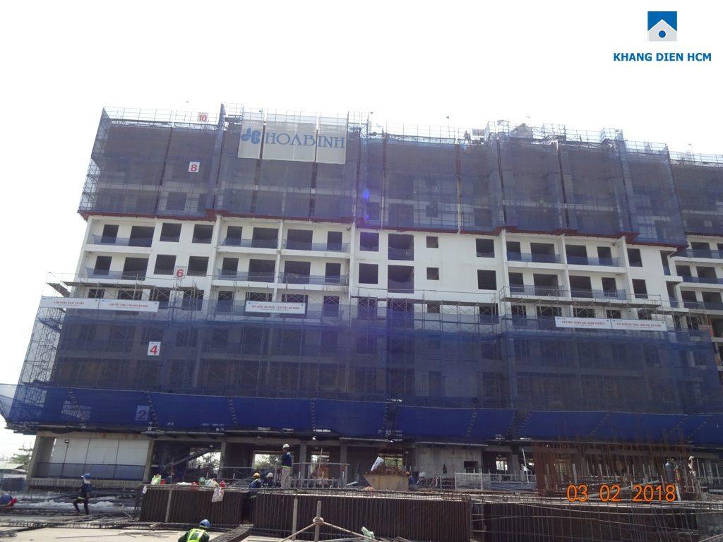 Block D dự án căn hộ Jamila Quận 9 đang thi công tới sàn tầng 10.