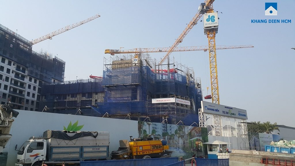 Nhà thầu Hòa Bình đang thi công khá tích cực dự án Jamila Khang Điền Quận 9. Ảnh: Khang Điền HCM