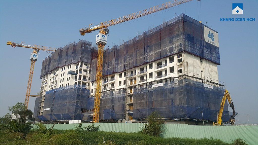 Tiến độ xây dựng của dự án Jamila Khang Điền được đánh giá rất tốt. Lựa chọn Hòa Bình làm tổng thầu dự án Jamila là lựa chọn tốt. Giúp gia tăng thương hiệu sản phẩm của CĐT Khang Điền và tạo lòng tin cho khách hàng. Ảnh: Khang Điền HCM