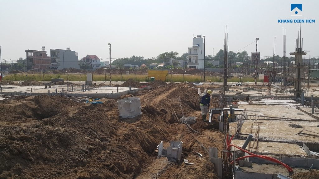 Công nhân đang thi công tại Block A Dự án nhà phố Lovera Park Bình Chánh: Ảnh Khang Điền HCM