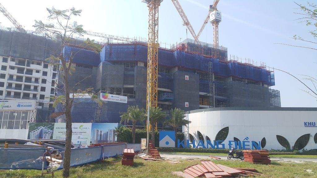 Block A đang tiến hành thi công Tầng 8. Ảnh Khang Điền HCM