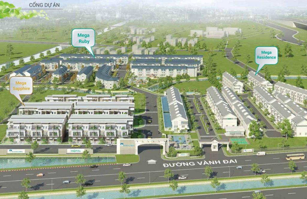 Phối cảnh tổng thể chuỗi nhà phố, biệt thự Mega Khang Điền - Khang Điền HCM