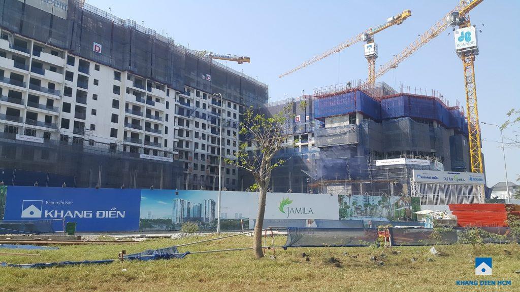 Toàn cảnh dự án căn hộ Jamila Khang Điền chụp từ đường Song Hành. Ảnh Khang Điền HCM