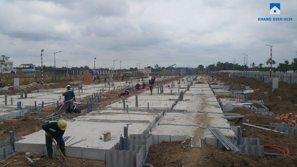 Block B dự án nhà phố Lovera Park Bình Chánh đang thi công phần khối đế tầng trệt căn nhà . Ảnh: Nam Long HCM