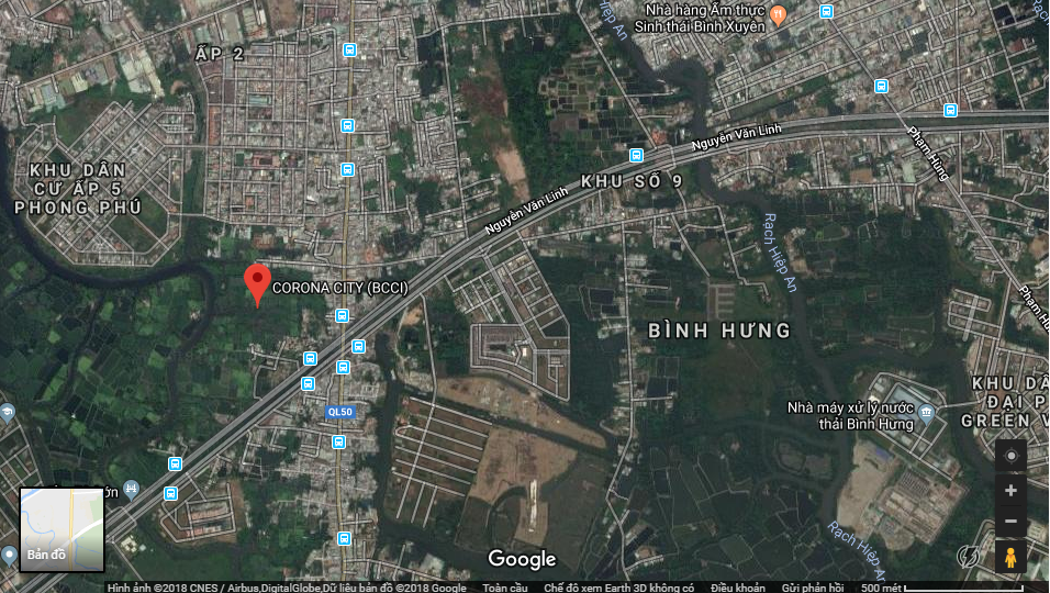 Vị trí dự án Corona City tại Bình Hưng - Bình Chánh - Khang Điền HCM