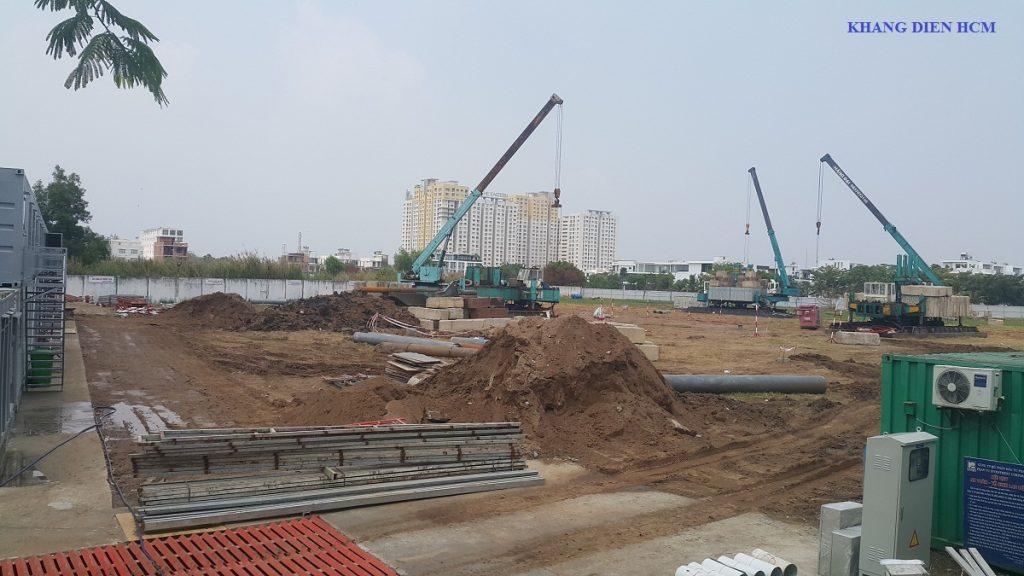 Khung cảnh nhộn nhịp bên trong khuôn viên dự án căn hộ Saphire Phú Hữu - Khang Điền HCM