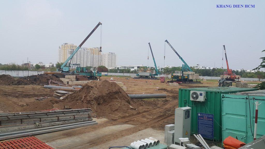 Máy móc đang được nhà thầu An Phong đưa vào thi công rầm rộ - Khang Điền HCM