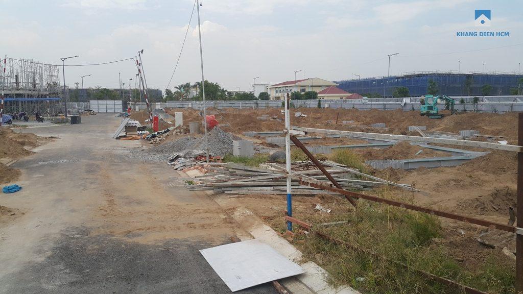 Block C đang tiến hành đỗ móng, đây là Block được tiến hành xây trể nhất trong Khu 1&2 - Khang Điền HCM