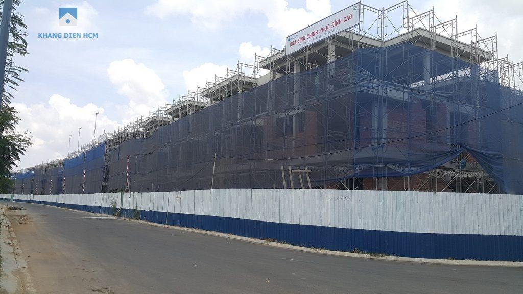 Block E đã thi công xong phần kết cấu bê tông, công đoạn xây tường bao và sơn bên ngoài sẽ sớm hoàn thành. Khang Điền HCM