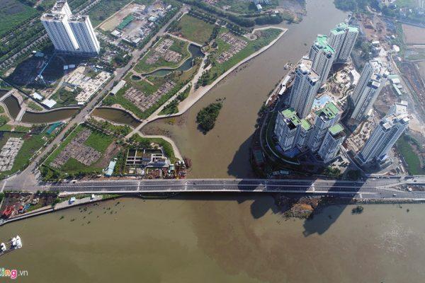 Điểm đầu của cầu tiếp nối đường ven sông Sài Gòn trong khu dân cư 30 ha phường Bình Khánh. Điểm cuối tiếp nối đường ven sông Sài Gòn phía phường Thạnh Mỹ Lợi - Khang Điền HCM