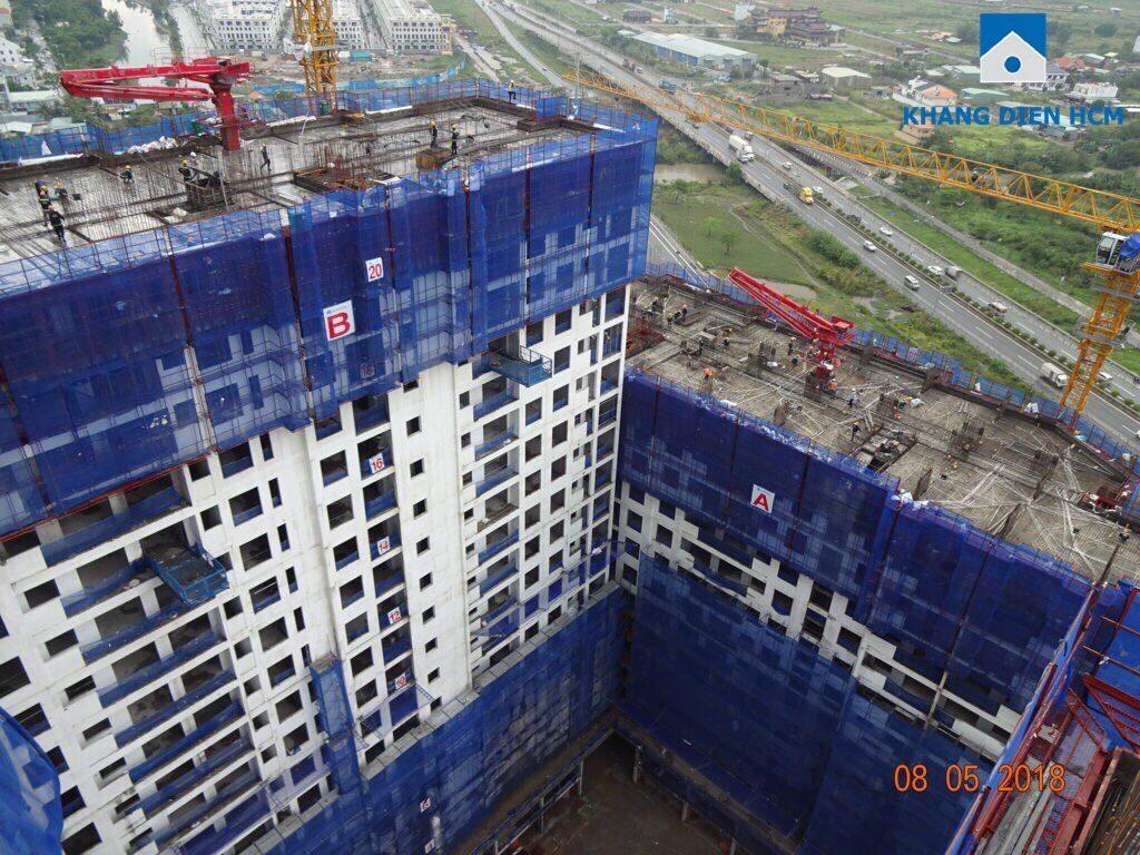 Block B đang được gia công lắp đặt cốt thép, cốp pha dầm, sàn tầng 23 - Khang Điền HCM