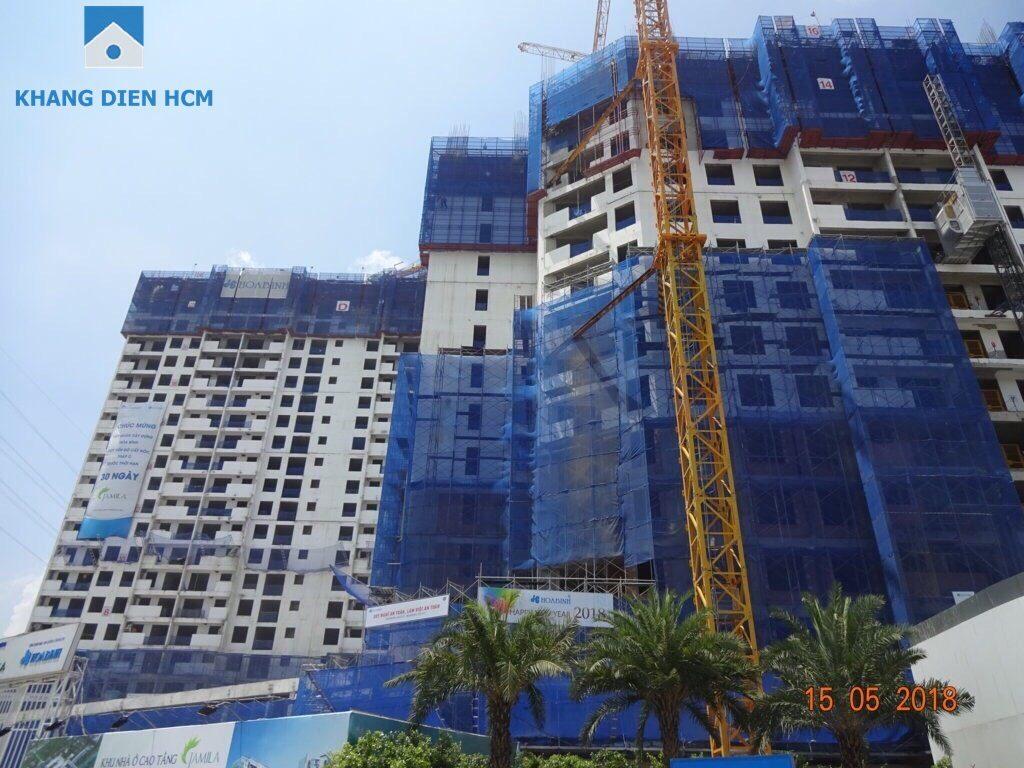 Block A đang gia công lắp đặt cốt thép, cốp pha dầm sàn tầng 17 - Khang Điền HCM