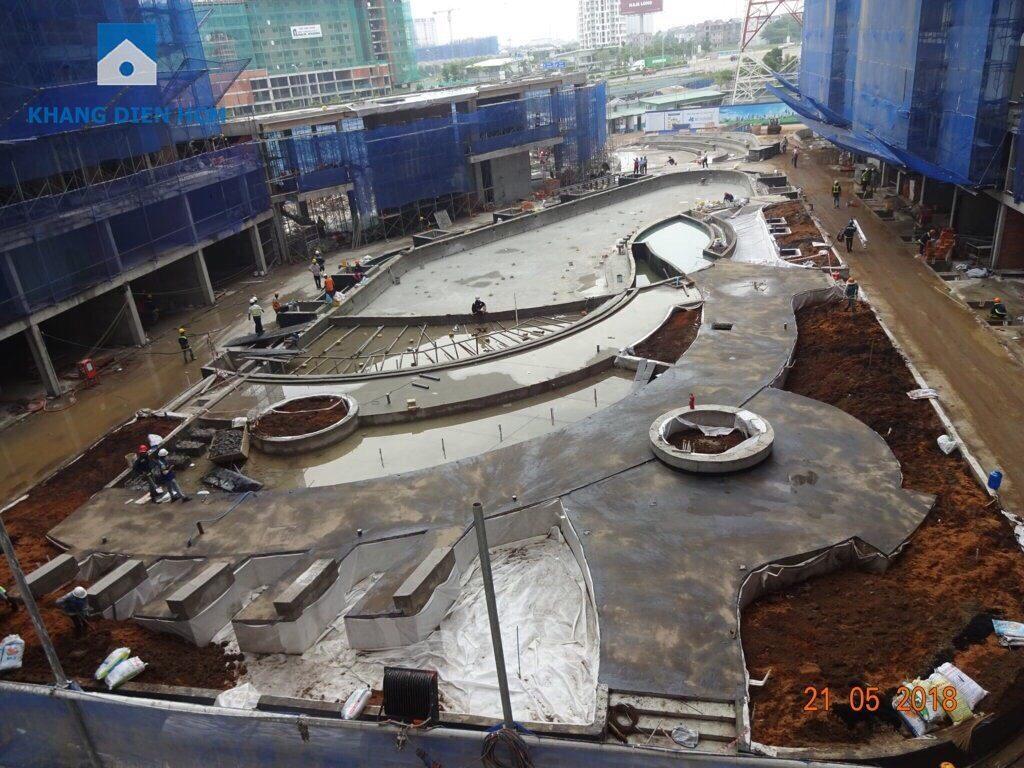 Phần tiện ích cảnh quan, hồ bơi đang dần được hoàn thiện - Khang Điền HCM