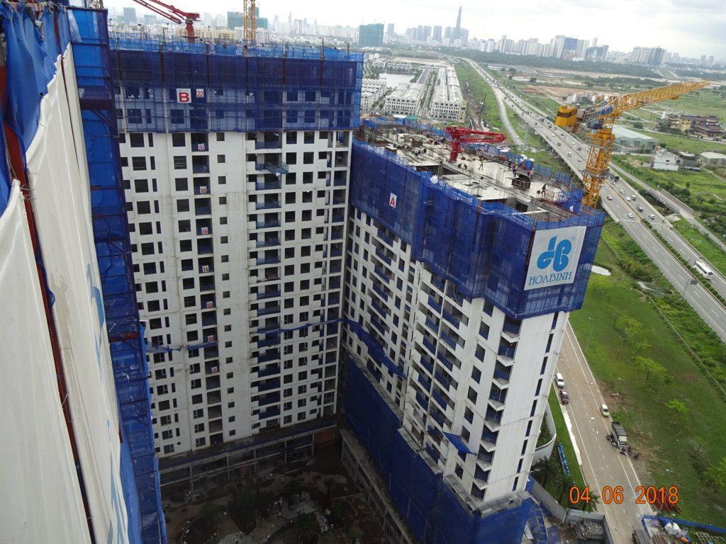 Block B dự án Jamila đang thi công tới tầng 23-24, Block thi công tầng 19 - 20