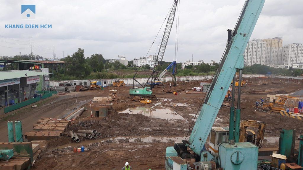 Nhà thầu An Phong đang thi công ép cọc nhồi tại dự án Sapphira Khang Điền