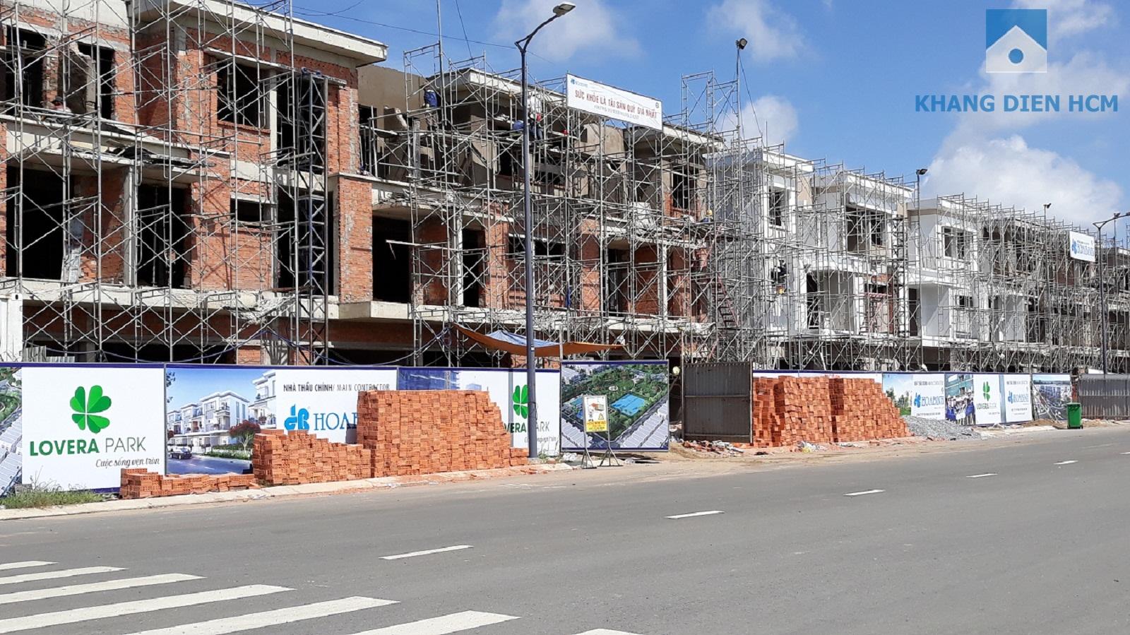 Block C hướng mặt tiền đường 30m đang tiến hành xây tường bao và sơn bên ngoài - Khang Điền HCM