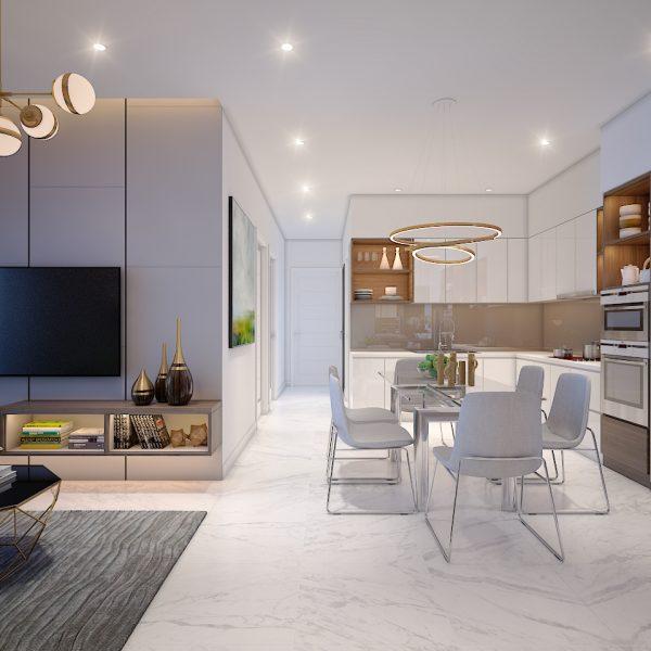 Nếu chưa thật sự ưng ý với cách thiết kế như trên thì đây là gợi ích cho căn hộ 2PN tại dự án Safira - Khang Điền HCM