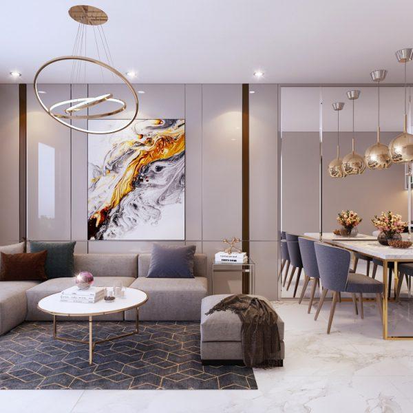 Phòng Khách và Phòng Bếp của một căn hộ trong dự án Safira Khang Điền - Khang Điền HCM