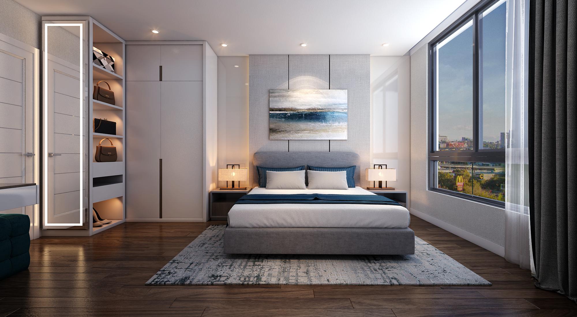 Phòng Ngủ được bố trí rất hiện đại, mọi không gian đều được tận dụng để không còn khoảng thừa - Khang Điền HCM