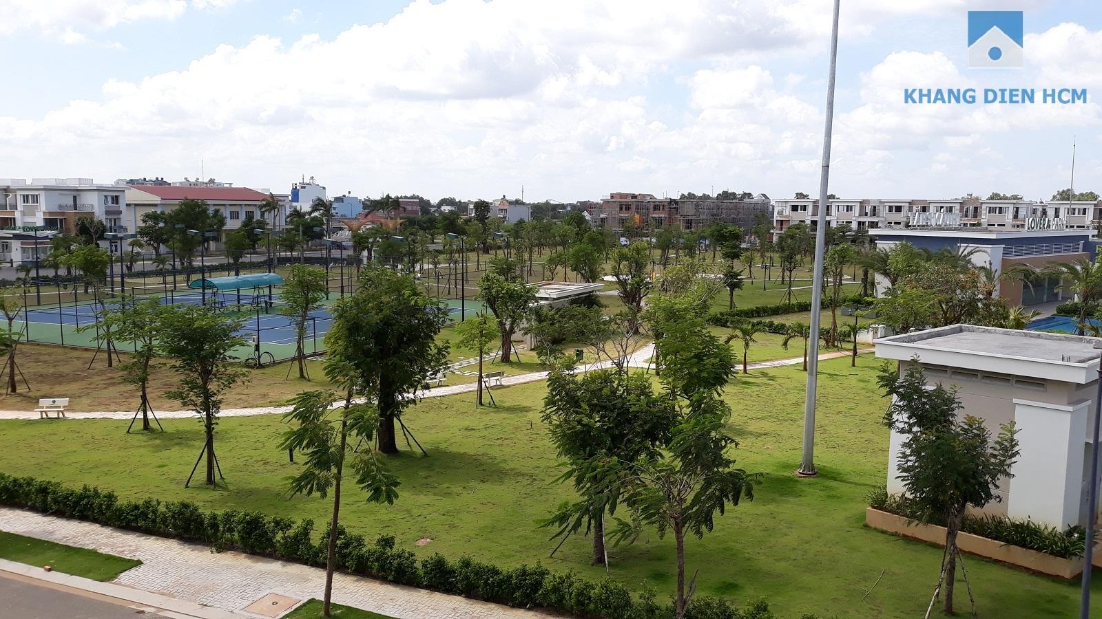 Công viên trung tâm và sân tennis phục vụ cho cư dân về đây sinh sống đã hoàn thiện - Khang Điền HCM