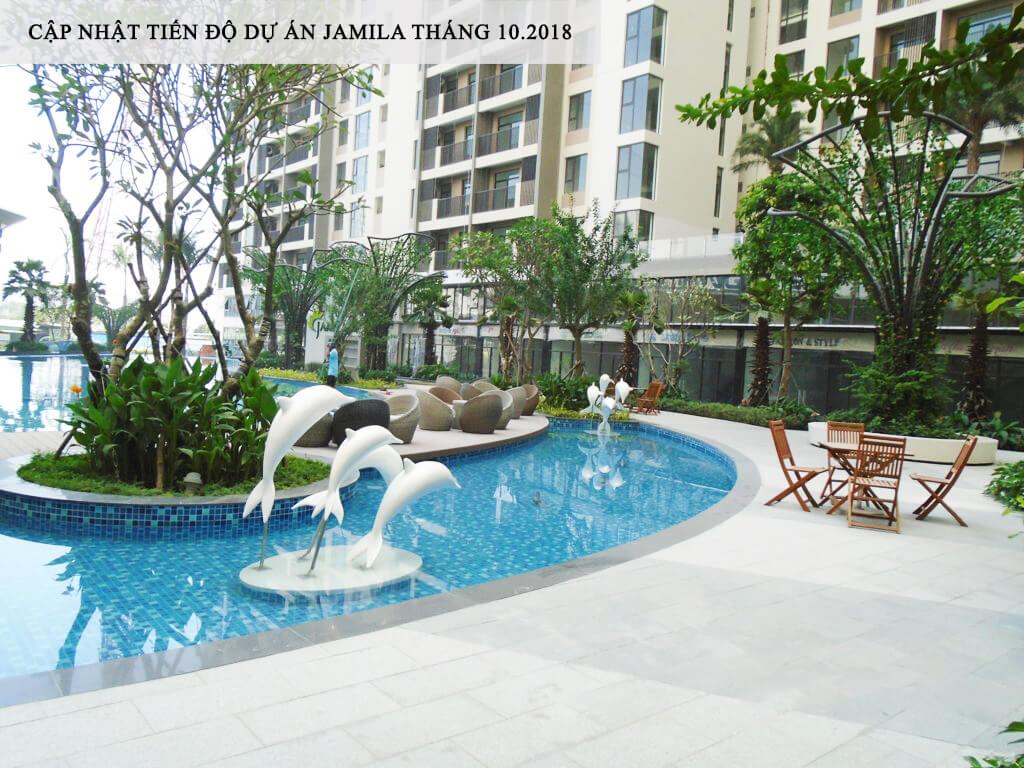 Một góc Hồ Bơi gần khu BBQ tại khu tiện ích của căn hộ Jamila - Khang Điền HCM