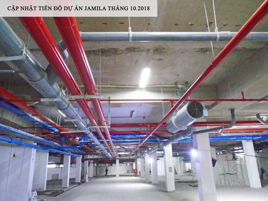 Tầng hầm tại dự án cũng đã hoàn thiện tất cả các hạng mục đặc biệt hệ thống PCCC được chú trọng - Khang Điền HCM