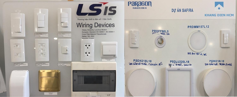 Các thiết bị điện như công tắc, ổ cắm, CP tổng, đèn led...được bàn giao tại các phòng trong căn hộ Safira - Khang Điền HCM