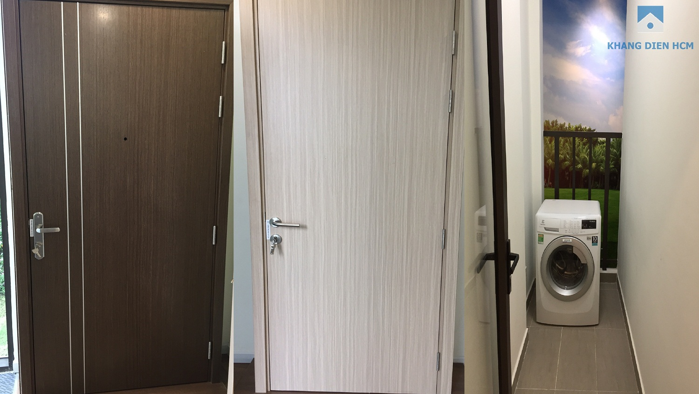 Cửa chính là cửa gỗ MDF lõi thép chống cháy An Cường, cửa đi phòng ngủ, phòng vệ sinh là cửa gỗ MDF An Cường, cửa đi ban công sân phơi là cửa nhôm kính - Khang Điền HCM