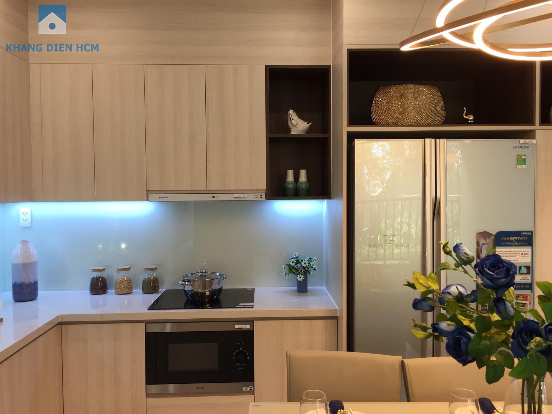Tủ bếp trên, tủ bếp dưới, các thiết bị lavabo, vòi rửa và gợi ý bố trí bếp tại căn 2PN trong dự án Safira - Khang Điền HCM