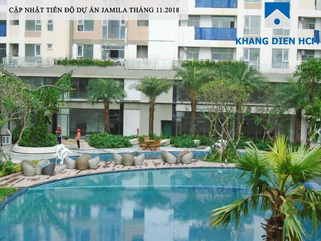 Hồ bơi đã sẵn sàng phục vụ những cư dân về sinh sống tại jamila - Khang Điền HCM