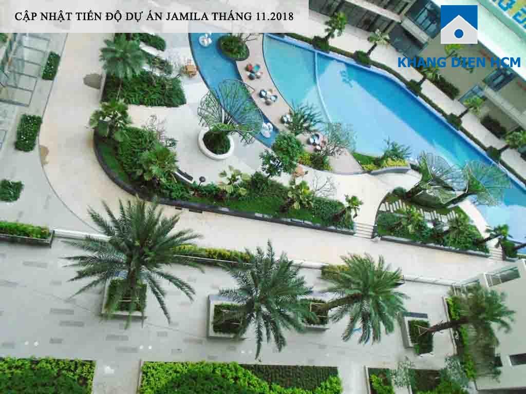 Một góc hồ bơi dự án Jamila nhìn từ Block C xuống - Khang Điền HCM
