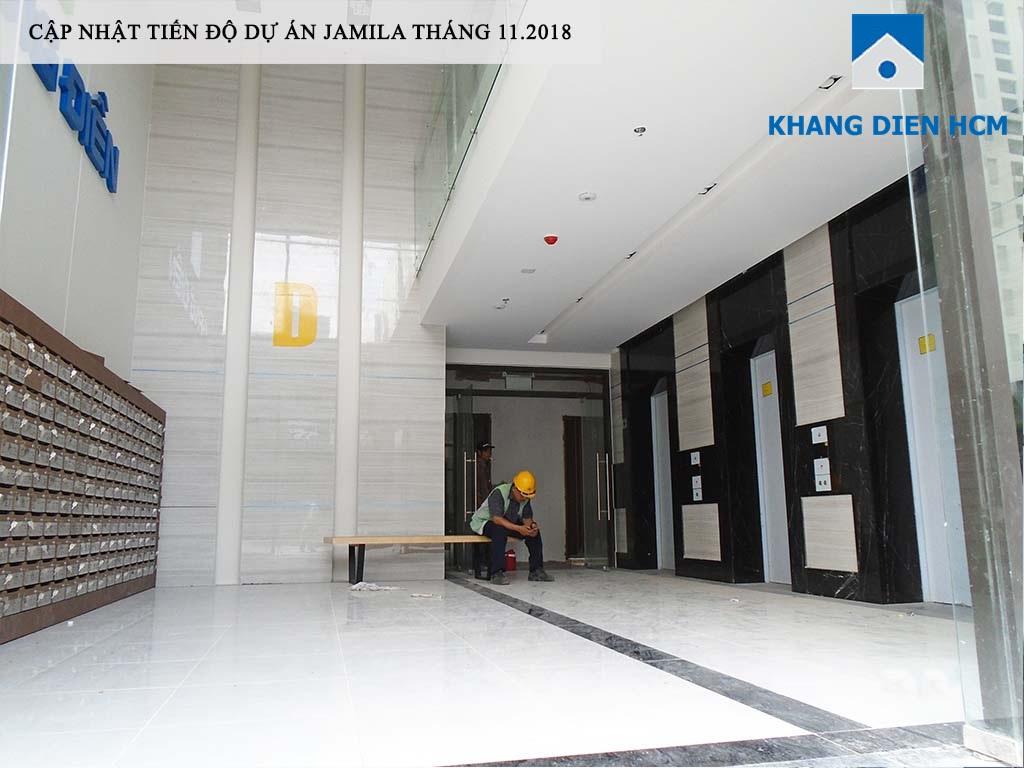 Sảnh Block D khá sang trọng đang hoàn thiện những công đoạn vệ sinh cuối cùng để chào đón cư dân - Khang Điền HCM