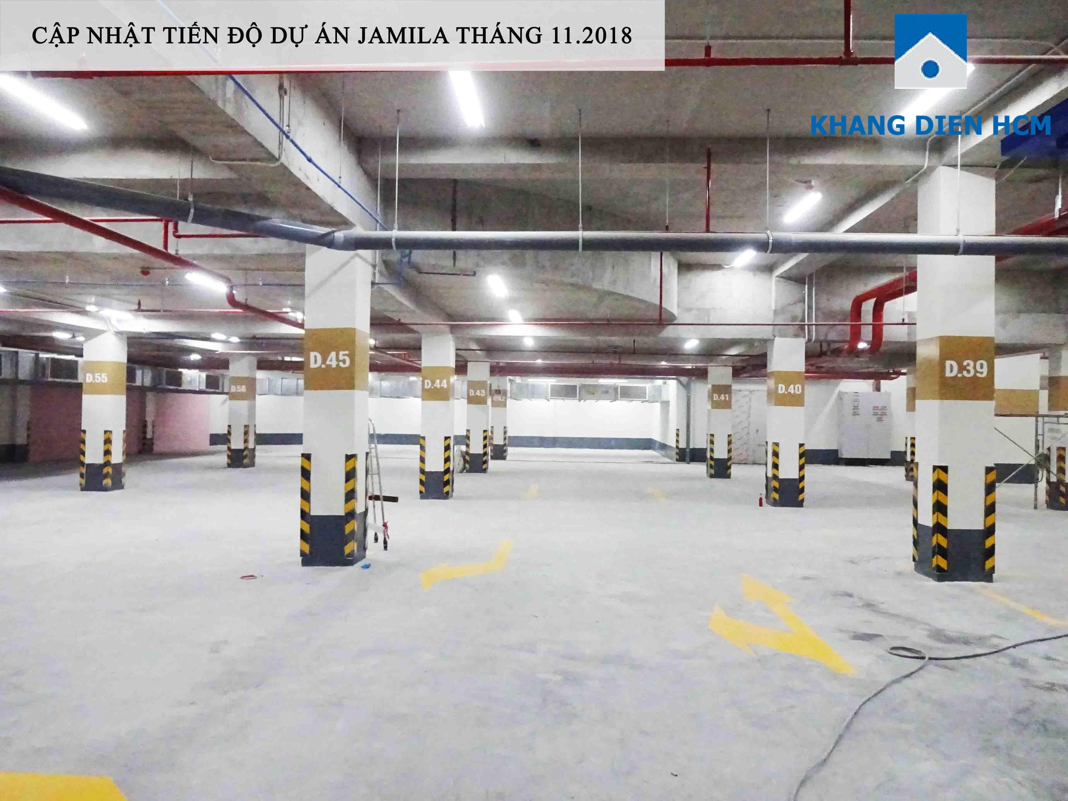 Một góc tầng hầm tại dự án Jamila đã hoàn thiện - Khang Điền HCM