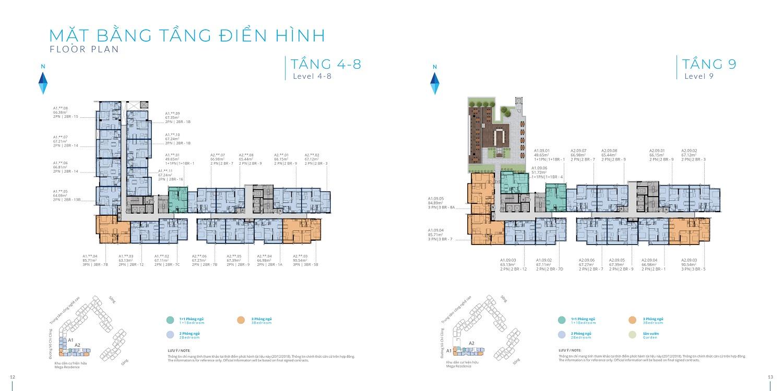 Mặt bằng tầng điển hình tầng 4-9 dự án Safira - Khang Điền HCM