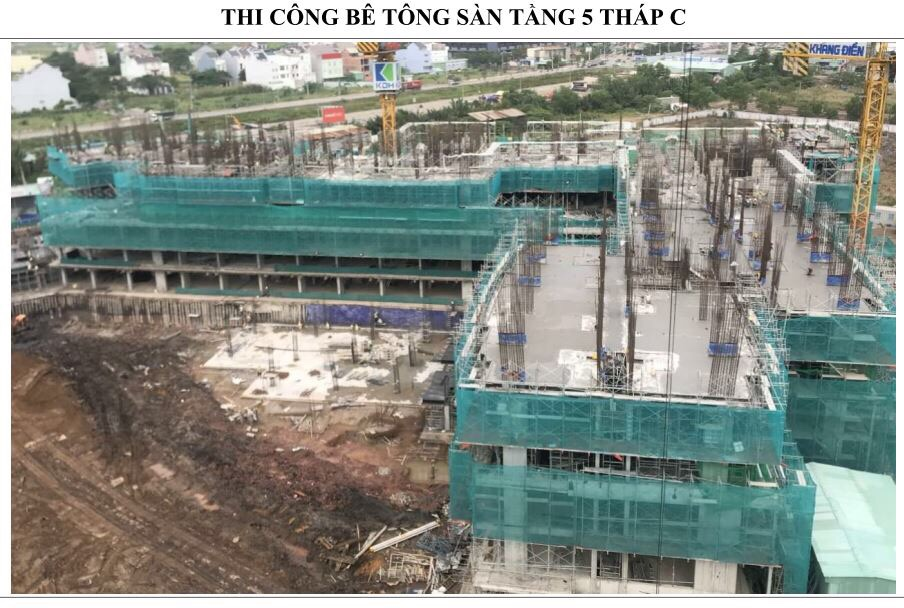 Tổng thầu An Phong đang tiến hành thi công bê tông sàn tầng 5 Block C - Khang Điền HCM
