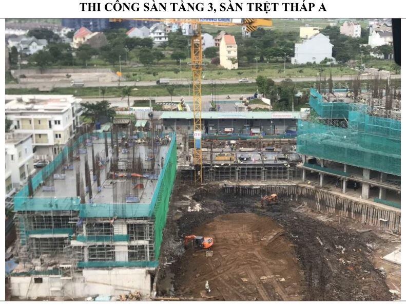 Đang thi công sàn tầng Trệt và sàn tầng 3 Block A của dự án Safira - Khang Điền HCM