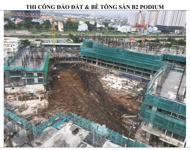 Đang thi công đào đất và bê tông sàn B2 PODIUM - Khang Điền HCM