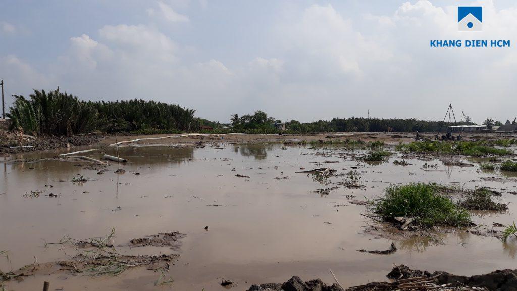 Dự án Venita Park đang được bơm cát, san lấp mặt bằng. Ảnh Khang Điền HCM