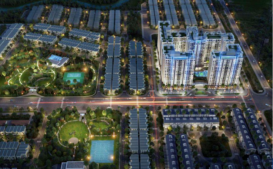 Phối cảnh về đêm của dự án Lovera Vista Khang Điền Bình Chánh - Khang Điền HCM