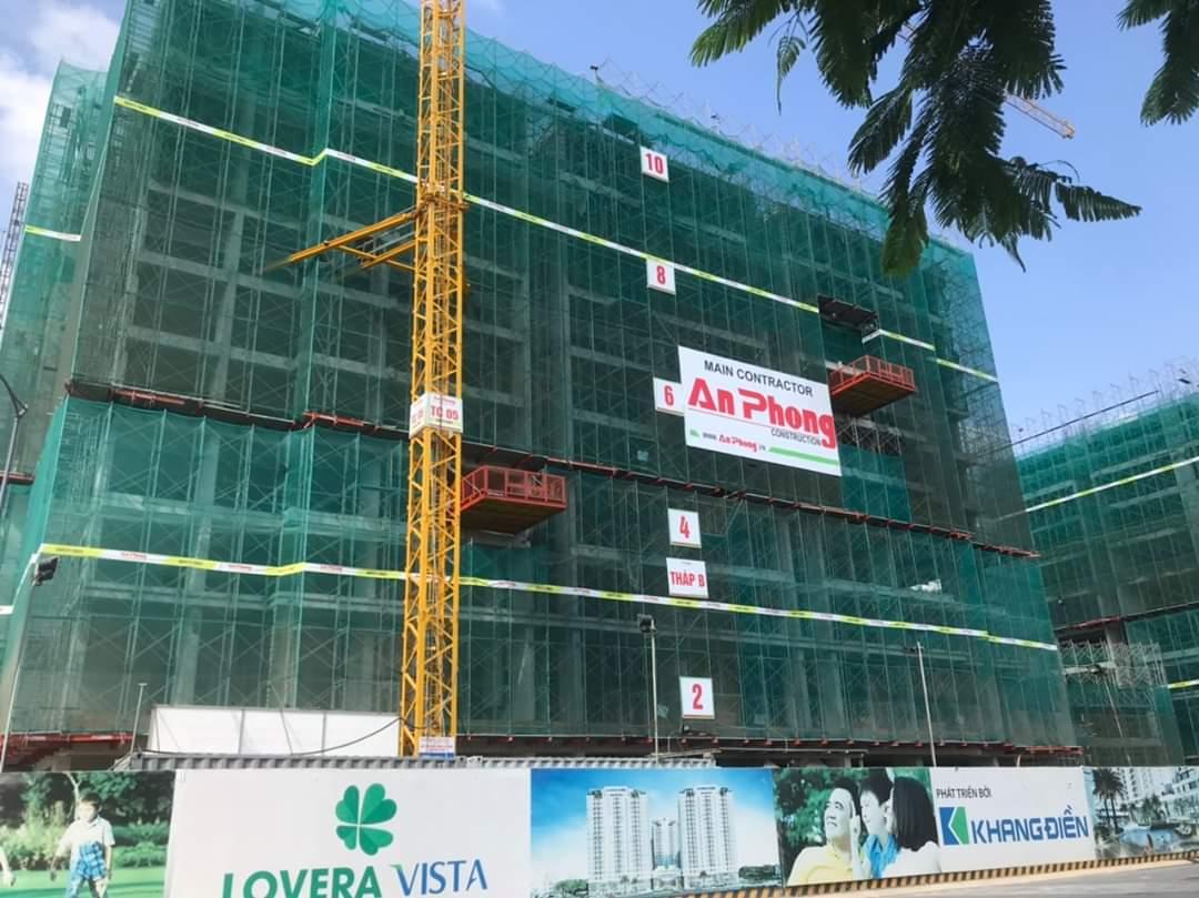 Block B đang tiến hành lắp đặt cốt thép cột vách tầng 11-12 Zone 1 - Khang Điền HCM