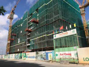 Block C đang tiến hành lắp dựng cốt thép cột vách tầng 10-11 - Khang Điền HCM