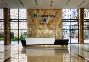 Sảnh chính căn hộ Safira được thiết kế và thi công bằng đá Marble sang trọng và tinh tế - Khang Điền HCM