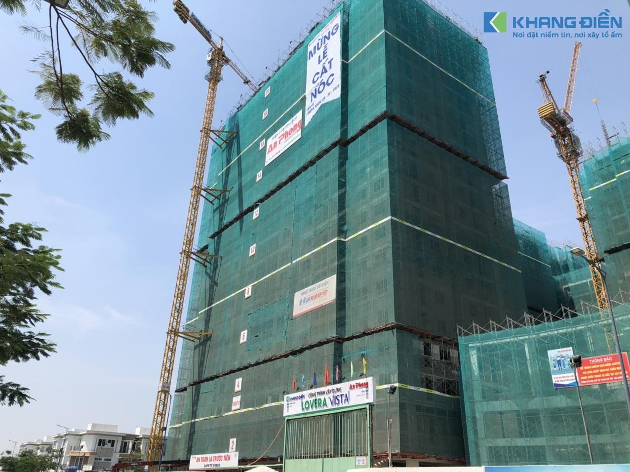 Tổng thầu An Phong cùng các đơn vị liên quan đang tiến hành cất nóc Block B - Khang Điền HCM