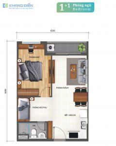 Layout thiết kế căn hộ 1+1 Phòng ngủ tại dự án Khang Điền Bình Tân - Khang Điền HCM