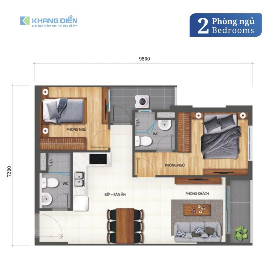 Thiết kế căn hộ 2 phòng ngủ tại dự án Khang Điền Bình Tân - Khang Điền HCM