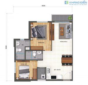 Thiết kế căn góc 70m2 bố trí 2 phòng ngủ, 2WC tại dự án Khang Điền Bình Tân - Khang Điền HCM
