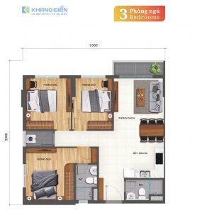 Thiết kế căn hộ 3 phòng ngủ, 2WC diện tích 82m2tại dự án Khang Điền Bình Tân - Khang Điền HCM