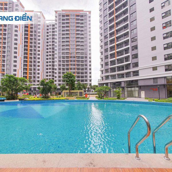 Hồ bơi rộng hơn 800m2 đã sẵn sàng phục vụ khi cư dân về sinh sống tại Safira - Khang Điền HCM