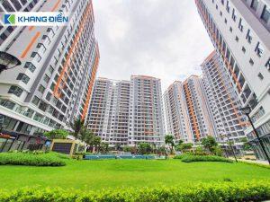 Mảng xanh và các tiện ích đi kèm được bố trí khu lõi trung tâm của dự án tạo nên cảm giác yên bình - Khang Điền HCM