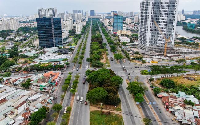 Hình chụp thực tế nút giao thông Nguyễn Văn Linh - Nguyễn Hữu Thọ hướng từ Bình Chánh về Quận 7 - Khang Điền HCM